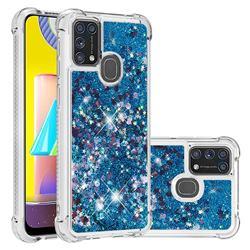 Dynamic Liquid Glitter Sand Quicksand TPU Case for Samsung Galaxy M31 - Blue Love Heart