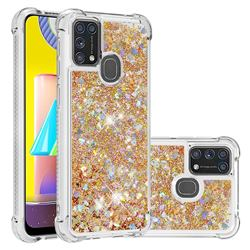 Dynamic Liquid Glitter Sand Quicksand TPU Case for Samsung Galaxy M31 - Rose Gold Love Heart