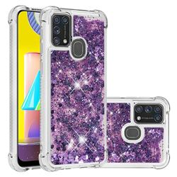 Dynamic Liquid Glitter Sand Quicksand Star TPU Case for Samsung Galaxy M31 - Purple