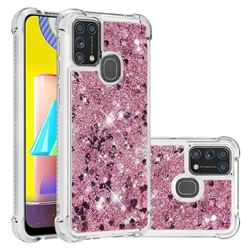 Dynamic Liquid Glitter Sand Quicksand Star TPU Case for Samsung Galaxy M31 - Diamond Rose