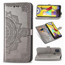 Embossing Imprint Mandala Flower Leather Wallet Case for Samsung Galaxy M31 - Gray