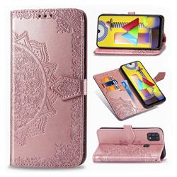 Embossing Imprint Mandala Flower Leather Wallet Case for Samsung Galaxy M31 - Rose Gold