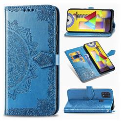 Embossing Imprint Mandala Flower Leather Wallet Case for Samsung Galaxy M31 - Blue