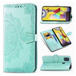 Embossing Imprint Mandala Flower Leather Wallet Case for Samsung Galaxy M31 - Green