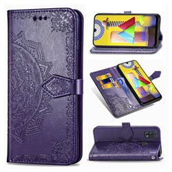 Embossing Imprint Mandala Flower Leather Wallet Case for Samsung Galaxy M31 - Purple