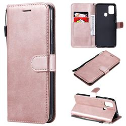 Retro Greek Classic Smooth PU Leather Wallet Phone Case for Samsung Galaxy M31 - Rose Gold