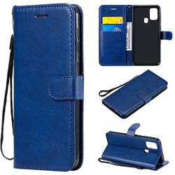 Retro Greek Classic Smooth PU Leather Wallet Phone Case for Samsung Galaxy M31 - Blue