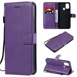 Retro Greek Classic Smooth PU Leather Wallet Phone Case for Samsung Galaxy M31 - Purple