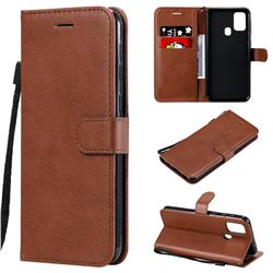 Retro Greek Classic Smooth PU Leather Wallet Phone Case for Samsung Galaxy M31 - Brown