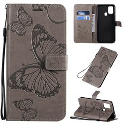Embossing 3D Butterfly Leather Wallet Case for Samsung Galaxy M31 - Gray