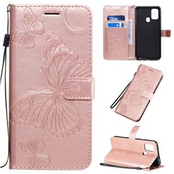 Embossing 3D Butterfly Leather Wallet Case for Samsung Galaxy M31 - Rose Gold