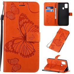 Embossing 3D Butterfly Leather Wallet Case for Samsung Galaxy M31 - Orange