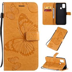 Embossing 3D Butterfly Leather Wallet Case for Samsung Galaxy M31 - Yellow