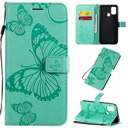 Embossing 3D Butterfly Leather Wallet Case for Samsung Galaxy M31 - Green