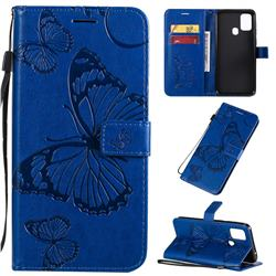 Embossing 3D Butterfly Leather Wallet Case for Samsung Galaxy M31 - Blue