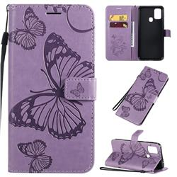 Embossing 3D Butterfly Leather Wallet Case for Samsung Galaxy M31 - Purple