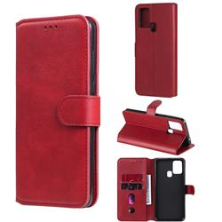 Retro Calf Matte Leather Wallet Phone Case for Samsung Galaxy M31 - Red