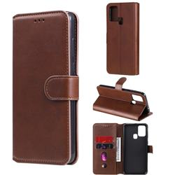 Retro Calf Matte Leather Wallet Phone Case for Samsung Galaxy M31 - Brown