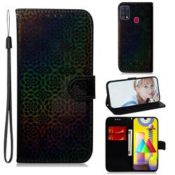 Laser Circle Shining Leather Wallet Phone Case for Samsung Galaxy M31 - Black