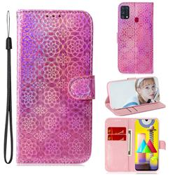 Laser Circle Shining Leather Wallet Phone Case for Samsung Galaxy M31 - Pink