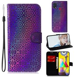 Laser Circle Shining Leather Wallet Phone Case for Samsung Galaxy M31 - Purple