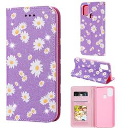 Ultra Slim Daisy Sparkle Glitter Powder Magnetic Leather Wallet Case for Samsung Galaxy M31 - Purple