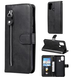Retro Luxury Zipper Leather Phone Wallet Case for Samsung Galaxy M31 - Black