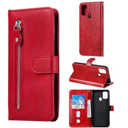 Retro Luxury Zipper Leather Phone Wallet Case for Samsung Galaxy M31 - Red