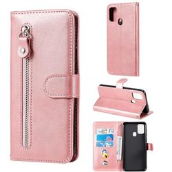 Retro Luxury Zipper Leather Phone Wallet Case for Samsung Galaxy M31 - Pink