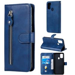Retro Luxury Zipper Leather Phone Wallet Case for Samsung Galaxy M31 - Blue
