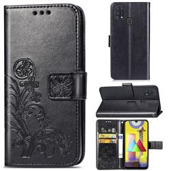 Embossing Imprint Four-Leaf Clover Leather Wallet Case for Samsung Galaxy M31 - Black