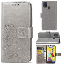 Embossing Imprint Four-Leaf Clover Leather Wallet Case for Samsung Galaxy M31 - Grey