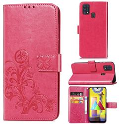 Embossing Imprint Four-Leaf Clover Leather Wallet Case for Samsung Galaxy M31 - Rose Red