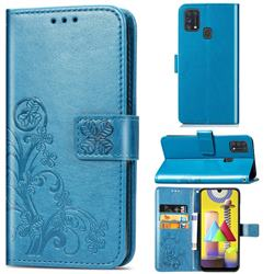Embossing Imprint Four-Leaf Clover Leather Wallet Case for Samsung Galaxy M31 - Blue