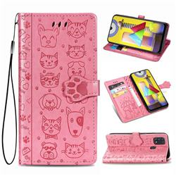 Embossing Dog Paw Kitten and Puppy Leather Wallet Case for Samsung Galaxy M31 - Pink