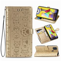 Embossing Dog Paw Kitten and Puppy Leather Wallet Case for Samsung Galaxy M31 - Champagne Gold