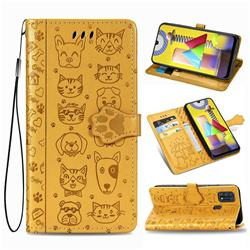 Embossing Dog Paw Kitten and Puppy Leather Wallet Case for Samsung Galaxy M31 - Yellow