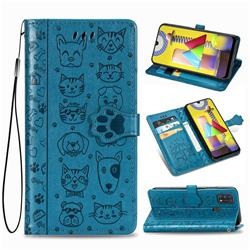 Embossing Dog Paw Kitten and Puppy Leather Wallet Case for Samsung Galaxy M31 - Blue