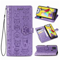 Embossing Dog Paw Kitten and Puppy Leather Wallet Case for Samsung Galaxy M31 - Purple
