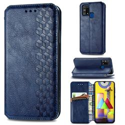 Ultra Slim Fashion Business Card Magnetic Automatic Suction Leather Flip Cover for Samsung Galaxy M31 - Dark Blue