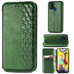 Ultra Slim Fashion Business Card Magnetic Automatic Suction Leather Flip Cover for Samsung Galaxy M31 - Green