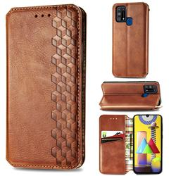 Ultra Slim Fashion Business Card Magnetic Automatic Suction Leather Flip Cover for Samsung Galaxy M31 - Brown