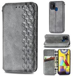 Ultra Slim Fashion Business Card Magnetic Automatic Suction Leather Flip Cover for Samsung Galaxy M31 - Grey