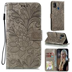 Intricate Embossing Lace Jasmine Flower Leather Wallet Case for Samsung Galaxy M31 - Gray