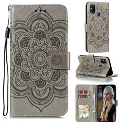 Intricate Embossing Datura Solar Leather Wallet Case for Samsung Galaxy M31 - Gray