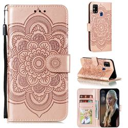 Intricate Embossing Datura Solar Leather Wallet Case for Samsung Galaxy M31 - Rose Gold
