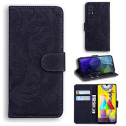 Intricate Embossing Tiger Face Leather Wallet Case for Samsung Galaxy M31 - Black
