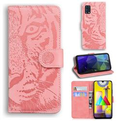 Intricate Embossing Tiger Face Leather Wallet Case for Samsung Galaxy M31 - Pink