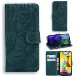 Intricate Embossing Tiger Face Leather Wallet Case for Samsung Galaxy M31 - Green
