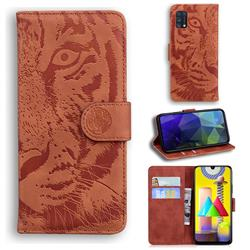 Intricate Embossing Tiger Face Leather Wallet Case for Samsung Galaxy M31 - Brown